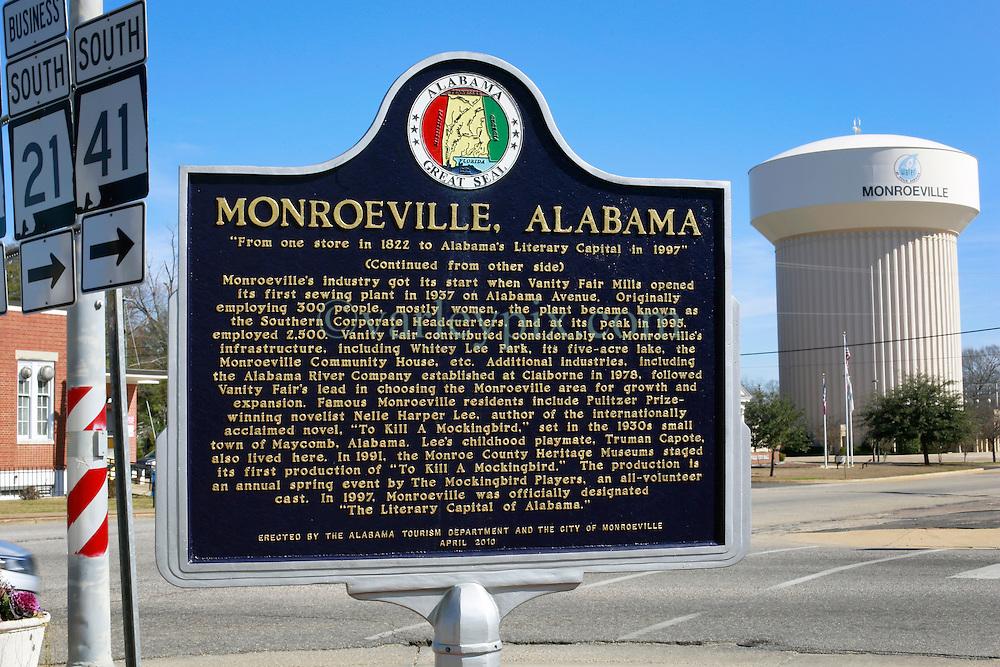 06 February 2015. Monroeville, Alabama.<br /> On the trail of Harper Lee's 'To Kill a Mocking Bird.'<br /> Signage for Monroeville.<br /> Photo; Charlie Varley/varleypix.com