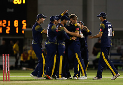 Glamorgan's Timm van der Gugten is mobbed by team mates after the win<br /> <br /> Photographer Simon King/Replay Images<br /> <br /> Vitality Blast T20 - Round 8 - Glamorgan v Gloucestershire - Friday 3rd August 2018 - Sophia Gardens - Cardiff<br /> <br /> World Copyright © Replay Images . All rights reserved. info@replayimages.co.uk - http://replayimages.co.uk