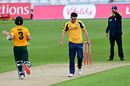 Jordan Thompson of Yorkshire takes the wicket of Chris Nash of Nottinghamshire during the Vitality T20 Blast North Group match between Nottinghamshire County Cricket Club and Yorkshire County Cricket Club at Trent Bridge, Nottingham, United Kingdon on 31 August 2020.