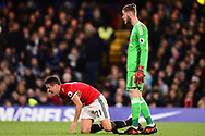 Ander Herrera of Manchester United reacts as he goes down injured . Premier league match, Chelsea v Manchester United at Stamford Bridge in London on Sunday 5th November 2017.<br /> pic by Andrew Orchard sports photography.