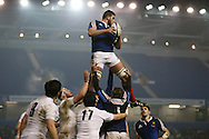 Mathieu Tanguy catches in the line out during the 2015 Under 20s 6 Nations match between England and France at the American Express Community Stadium, Brighton and Hove, England on 20 March 2015.
