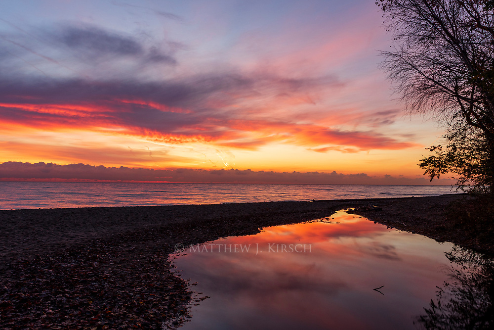 Reflection of Clouds at Lake Michigan Sunrise. South Milwaukee, WI. October 2017