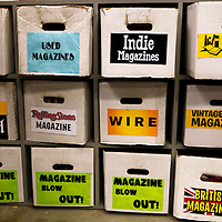 USA, California, Los Angeles. Boxes of magazines at  Amoeba Music Store in Hollywood.