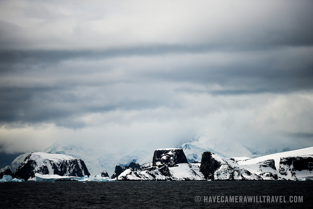A scenic shot of some of the dramatic landscape along the English Strait in the northern section of the Antarctic Peninsula.