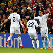 Real Madrid's Cristiano Ronaldo (R) celebrate his goal with team mate during their UEFA Champions League Quarter-finals, Second leg match Galatasaray between Real Madrid at the TT Arena AliSamiYen Spor Kompleksi in Istanbul, Turkey on Tuesday 09 April 2013. Photo by Aykut AKICI/TURKPIX