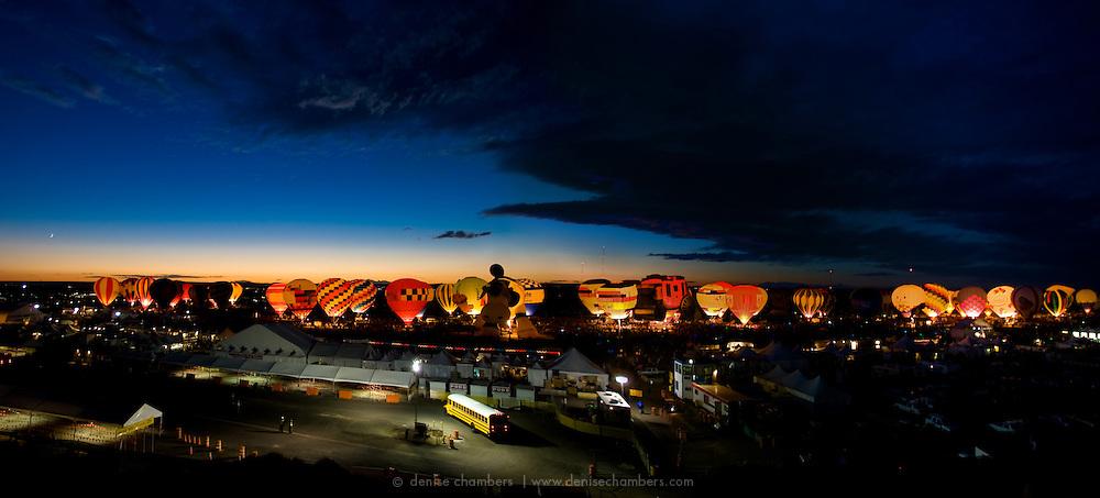 The evening Balloon Glow at the Albuquerque International Balloon Fiesta