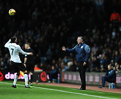 Aston Villa Manager, Paul Lambert throws the ball over the head of Manchester United's Angel Di Maria  - Photo mandatory by-line: Joe Meredith/JMP - Mobile: 07966 386802 - 20/12/2014 - SPORT - football - Birmingham - Villa Park - Aston Villa v Manchester United - Barclays Premier League