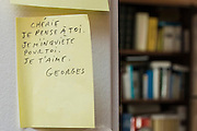 """March 6, 2015, Paris, France. Post-it notes decorate the Paris' apartment where Georges and Maryse Wolinski lived. French Cartoonist Georges Wolinski (1934 –2015) wrote daily post-it notes to his wife Maryse Wolinski (1943, Algiers). Two month after the death of Georges Wolinski, the apartment is full of souvenirs and notes, attesting a half-century-long love affair: """"Darling, I think of you, I'm worried about you. I love you. Georges."""" <br /> The cartoonist Georges Wolinski was 80 ye<br /> ars old when he was murdered by the French jihadists Chérif en Saïd Kouachi, he was one of the 12 victims of the massacre in the Charlie Hebdo offices on Janua<br /> ry 7, 2015 in Paris. Charlie Hebdo published caricatures of Mohammed, considered blasphemous by some Muslims. During his life, Georges Wolinski defended freedom, secularism and humour and was one of the major political cartoonists in France. The couple was married and had lived for 47 years together. Photo: Steven Wassenaar"""