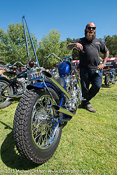 Invited builder Bobby Middleton (King Kustoms, Lombard, IL) with his custom Shovelhead on Friday - for the builder-invite bike check-in for the Born-Free 6 Vintage Chopper and Classic Motorcycle Show. Silverado, CA. USA. June 27, 2014.  Photography ©2014 Michael Lichter.