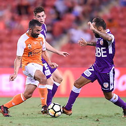 BRISBANE, AUSTRALIA - DECEMBER 21: Fahid Ben Khalfallah of the Roar and Diego Castro of the Glory compete for the ball during the Round 12 Hyundai A-League match between Brisbane Roar and Perth Glory on December 21, 2017 in Brisbane, Australia. (Photo by Patrick Kearney / Brisbane Roar FC)