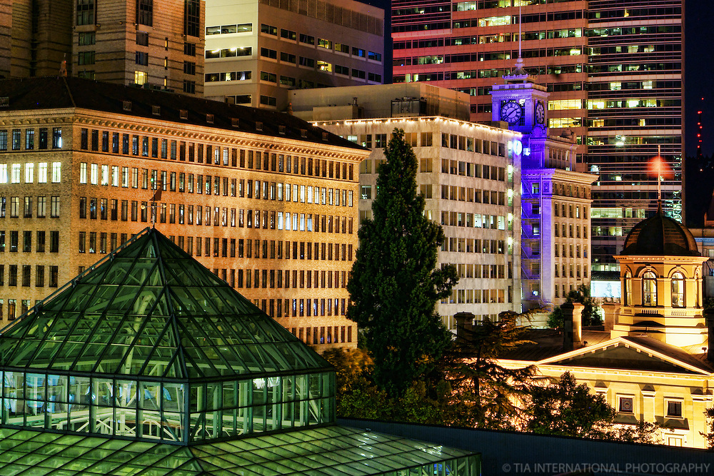 Downtown Portland featuring Pioneer Courthouse & Jackson Tower (clock tower)