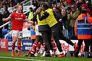 Barnsley defender Ben Williams (28) celebrates the second Barnsley goal scored by Barnsley midfielder Brad Potts (20)  during the EFL Sky Bet League 1 match between Peterborough United and Barnsley at The Abax Stadium, Peterborough, England on 6 October 2018.
