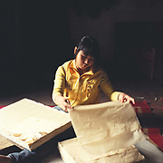A young woman folds paper made in Duong O village which specialises in making traditional paper from bark, Bac Ninh province, Vietnam.  With Vietnam's growing population making less land available for farmers to work, families unable to sustain themselves are turning to the creation of various products in rural areas.  These 'craft' villages specialise in a single product or activity, anything from palm leaf hats to incense sticks, or from noodle making to snake-catching. Some of these 'craft' villages date back hundreds of years, whilst others are a more recent response to enable rural farmers to earn much needed extra income.