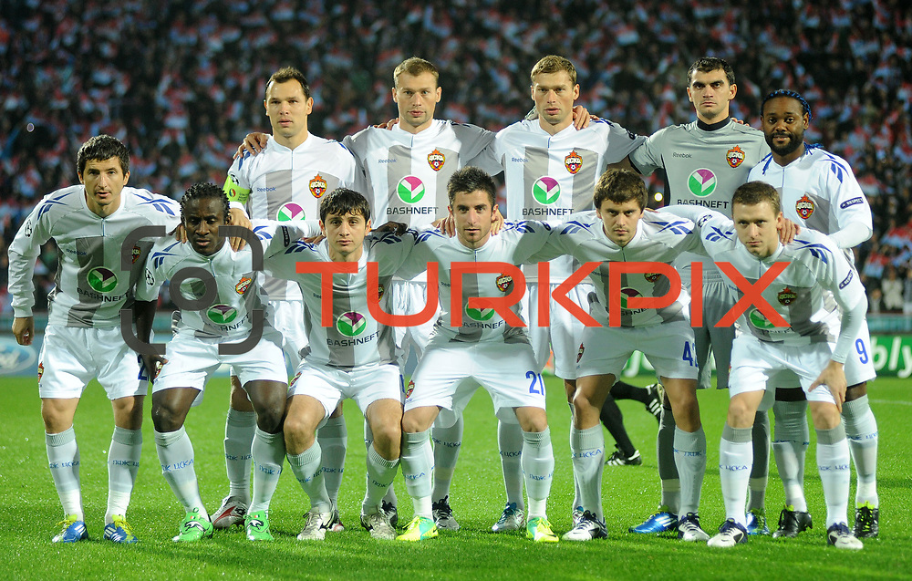 CSKA Moskva's players during their UEFA Champions League group stage matchday 4 soccer match Trabzonspor between CSKA Moskva at the Avni Aker Stadium at Trabzon Turkey on Wednesday, 02 November 2011. Photo by TURKPIX