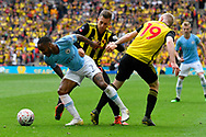 Raheem Sterling (7) of Manchester City battles for possession with Gerard Deulofeu (7) of Watford during the The FA Cup Final match between Manchester City and Watford at Wembley Stadium, London, England on 18 May 2019.