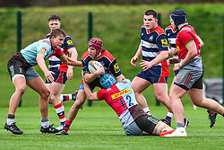 Ioan Lloyd of Bristol Academy U18 is tackled by Jack Potter of Harlequins Academy U18 - Mandatory by-line: Craig Thomas/JMP - 03/02/2018 - RUGBY - SGS Wise Campus - Bristol, England - Bristol U18 v Harlequins U18 - Premiership U18 League