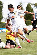 Waikato's Harry Edge in action against Wellington's Justin Gulley during their White Ribbon Cup Final in Hamilton. NZFC, ASB Premiership football match, Waikato FC v  Team Wellington at Gower Park, Hamilton, New Zealand. Sunday 1 Apirl. Photo: Dion Mellow / photosport.co.nz