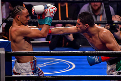 January 26, 2019 - Brooklyn, New York, USA - KEITH THURMAN (American flag trunks) battles JOSESITO LOPEZ in a WBA Welterweight Championship bout at the Barclays Center in Brooklyn, New York. (Credit Image: © Joel Plummer/ZUMA Wire)