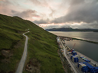 Aerial view of industrial harbour on Amaknak island in Alaska, USA.