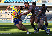 Warrington Wolves' Greg Inglis is tackled high by Catalans Dragons' Mike McMeeken<br /> <br /> Photographer Alex Dodd/CameraSport<br /> <br /> Rugby League - Betfred Challenge Cup Quarter Finals - Catalans Dragons v Warrington Wolves - Friday 7th May 2021 - Emerald Headingley Stadium - Leeds<br /> <br /> World Copyright © 2021 CameraSport. All rights reserved. 43 Linden Ave. Countesthorpe. Leicester. England. LE8 5PG - Tel: +44 (0 116 277 4147 - admin@camerasport.com - www.camerasport.com