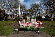 A bench dedicated to the memory of Sarah Everard in Folkestone memorial garden on the 14th of March 2021 in Folkestone, United Kingdom. Sarah Everard was kidnapped in March 2021 from Clapham Common and her remains were subsequently found in Kent.