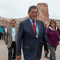 Navajo Nation President Russell Begaye, with his entourage following, walks to the Council Chambers as he prepares to address Navajo Nation Council Fall Session, in Window Rock.