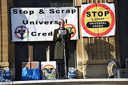 Sian Berry, co-leader Green Party, speaking at DPAC, Disabled People Against Cuts, rally & demo against Universal Credit, Norwich27 October 2018 UK
