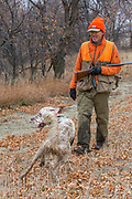 Bob Ciulla hunts pheasants in Montana with his English Setter, Jasper