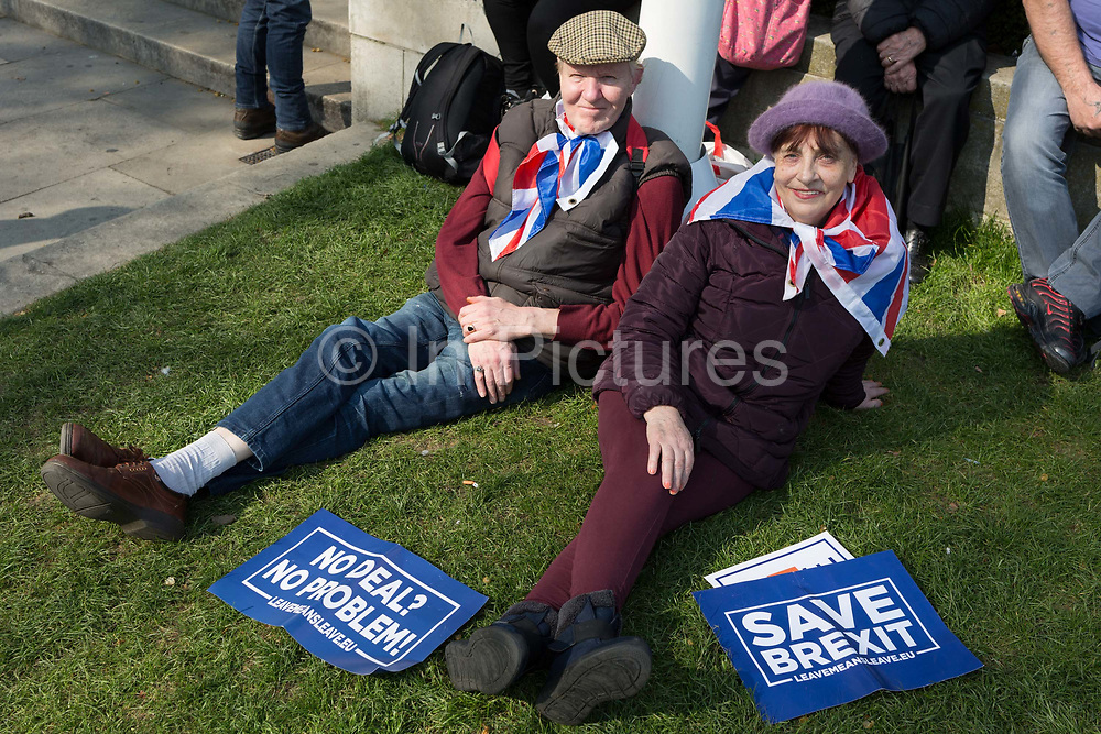 On the day that the UK was originally scheduled to leave the EU Prime Minister Theresa May also suffered her third vote defeat for the EU withdrawal agreement, bringing a No Deal Brexit ever closer and Leave Brexiteers protest outside parliament in Westminster, on 29th March 2019, in London, England.