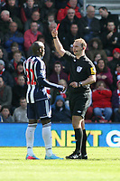 Football - 2012 / 2013 Premier League - Southampton vs. West Bromwich Albion<br /> Marc-Antoine Fortune of West Bromwich Albion receives a red card from Referee Mr Robert Madley
