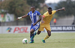 13052018 (Durban) Maritzburg United player Lebohang Maboe fighting for a ball at a Final match of the ABSA premier league between Maritzburg United and Lamontville Golden Arrows at The Harry Gwala stadium, Yesterday.<br /> Pictcure: Motshwari Mofokeng/ANA