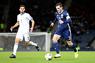 Scotland defender Andrew Robertson (3) (Liverpool) runs at the Russia defence during the UEFA European 2020 Qualifier match between Scotland and Russia at Hampden Park, Glasgow, United Kingdom on 6 September 2019.