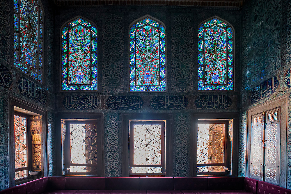 The Harem in the Topkapı Sarayı - Palace of sultans from 15th- to 19th-century; housed thousands of imperial servants. Center of the historic district, overlooking city across Sea of Marmara, Golden Horn, and Bosporus. Magnificent treasury of jewels (86-carat Spoonmaker Diamond), elaborately tiled harem chambers and kiosks.