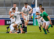 England's Harry Randall breaks through the Ireland defence during the World Rugby U20 Championship Final   match England U20 -V- Ireland U20 at The AJ Bell Stadium, Salford, Greater Manchester, England onSaturday, June 25, 2016. (Steve Flynn/Image of Sport)
