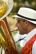 Playing the tuba