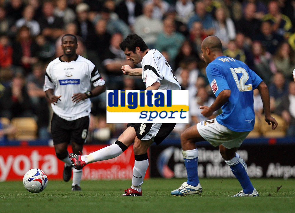 Photo: Rich Eaton.<br /> <br /> Derby County v Birmingham City. Coca Cola Championship. 21/10/2006. Adam Bolder of Derby County passes out of defence