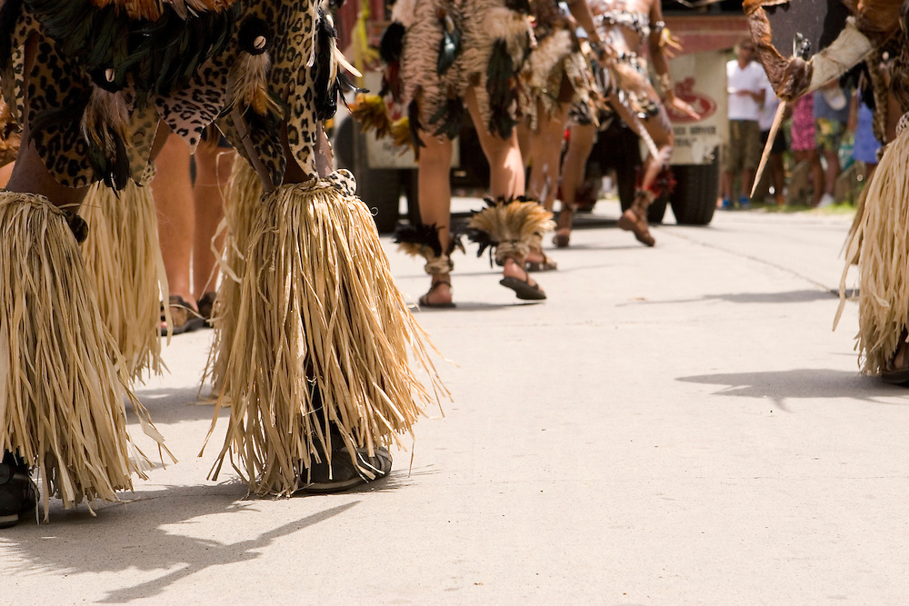 West Indian Natives of the Caribbean, preforming a traditional dance during Carnival on St. John, U.S. Virgin Islands.