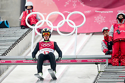 PYEONGCHANG-GUN, SOUTH KOREA - FEBRUARY 14: Vid Vrhovnik of Slovenia preparing for a jump during the Nordic Combined Individual Gundersen Normal Hill and 10km Cross Country on day five of the PyeongChang 2018 Winter Olympics at Alpensia Cross-Country Centre on February 14, 2018 in Pyeongchang-gun, South Korea. Photo by Kim Jong-man / Sportida