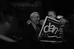 """Dan Rather and the crew and staff of his program """"Dan Rather Reports"""" cover the 2008 New Hampshire Presidential Primary. His coverage was centered on a two-hour live program presented in front of a live audience - many fans of Rather personally - at the Palace Theatre in downtown Manchester. Rather was also called upon by other journalists to present his views and experiences covering presidential elections for the last half decade."""