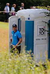 26.06.2014, Golf Club Gut Laerchenhof, Pulheim, GER, BNW International Golf Open, im Bild Martin Kaymer (US Open Sieger 2014) nach einem Geschaeft beim Verlassen eines ToiToi // during the International BMW Golf Open at the Golf Club Gut Laerchenhof in Pulheim, Germany on 2014/06/26. EXPA Pictures © 2014, PhotoCredit: EXPA/ Eibner-Pressefoto/ Schueler<br /> <br /> *****ATTENTION - OUT of GER*****