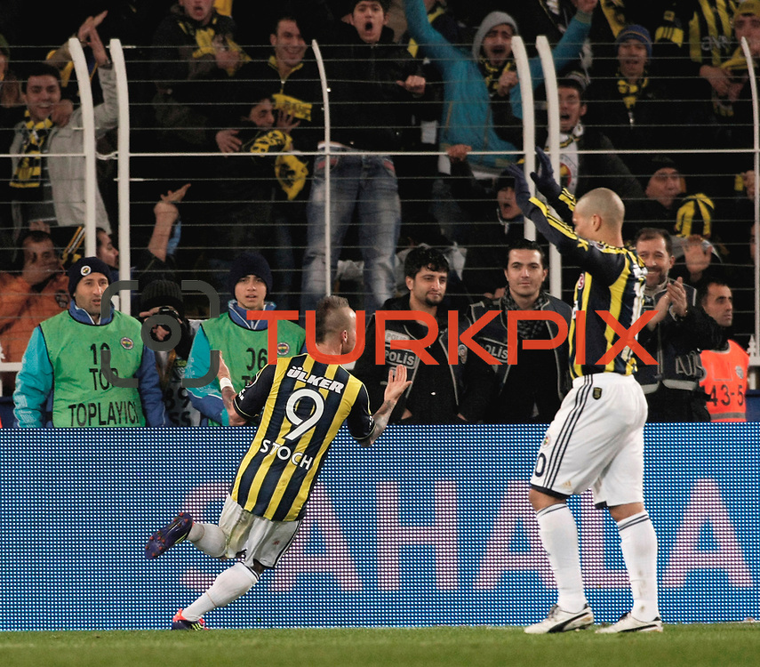 Fenerbahce's Mirosloav Stoch celebrate his goal during their Turkish superleague soccer match Fenerbahce between Gaziantepspor at the Sukru Saracaoglu stadium in Istanbul Turkey on Monday09 January 2011. Photo by TURKPIX