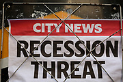Detail of an old Evening Standard newspaper headline for Friday 30th August, speaking of economic uncertainty and the treat of recession over a possible No-deal Brexit between British Prime Minister Boris Johnson's government and the European Union, in the City of London, (aka The Square Mile) the capital's financial district, on Monday 2nd September 2019, in London, England.