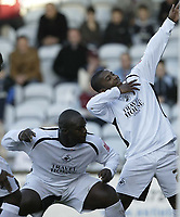 Photo: Aidan Ellis.<br /> Scunthorpe United v Swansea City. Coca Cola League 1. 18/02/2006.<br /> Swansea's Leon Knight leads the celebrations after his goal and teams second
