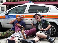 HSBC BANK ON POLICE CAR, HSBC bank sponsored ad on UK police car,Mayfair 08/08/2008 <br /> Picture Jack Ludlam