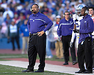 Kansas State head coach Ron Prince looks out onto the field during action against Kansas at Memorial Stadium in Lawrence, Kansas, November 18, 2006.  Kansas beat K-State 39-20.<br />
