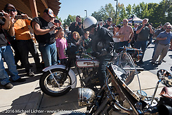 Vinnie Grasser of Florida on his 1916 Harley-Davidson at the hosted lunch stop at Powder Keg Harley-Davidson in Mason OH during the Motorcycle Cannonball Race of the Century. Stage-4 from Chillicothe, OH to Bloomington, IN. USA. Tuesday September 13, 2016. Photography ©2016 Michael Lichter.