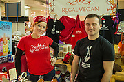 Ella Nemcova, left, founder of The Regal Vegan, in her booth. The Regal Vegan produces Faux Gras, a lentil-based alternative to fois gras, along with other spreads.