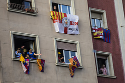April 30, 2018 - Barcelona, Catalonia, Spain - Barcelona supporters welcome players during the FC Barcelona Victory Parade in celebration of the La Liga and Copa Del Rey titles on April 30, 2018 in Barcelona, Spain. (Credit Image: © Xavier Bonilla/NurPhoto via ZUMA Press)