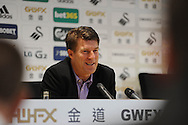 Swansea City Manager Michael Laudrup speaking at a press conference at the Liberty stadium today (17/10/2013) ahead of their match with Sunderland at the weekend. pic by Phil Rees , Andrew Orchard sports photography,