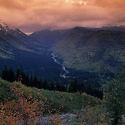 Glacier National Park, Scenic, fall colors looking west from going to Sun Highway. Montana